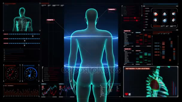 Zooming female Human body scanning internal organs, Digestion system ...