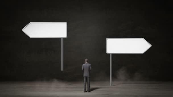 Podnikatel vybrat, šipka vpravo nebo šipka vlevo. rozhodl se způsoby. Díky decision.2