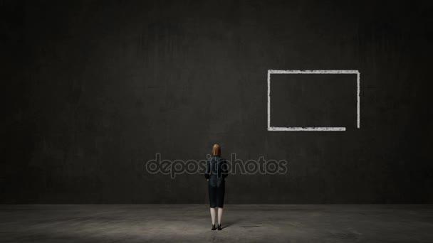 Geschäftsfrau wählen Plan a oder Plan b. entschiedene Wege. trifft Entscheidung.