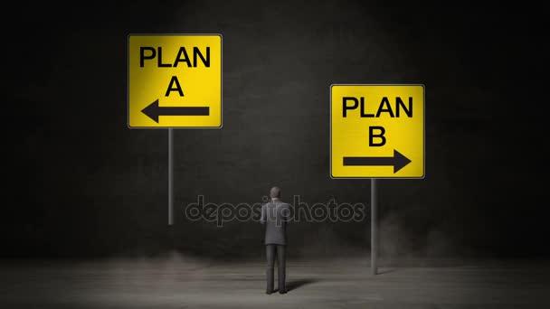 Podnikatel si vybrat šipku A plán nebo Plán B šipka. rozhodl se způsoby. provádí rozhodnutí.
