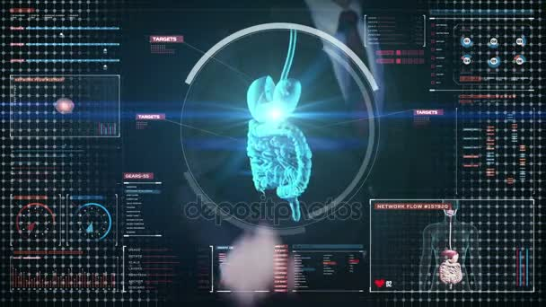 Podnikatel, dojemné digitální obrazovka, zvětšení těla skenování vnitřní orgány, trávicí systém v digitální displej. Modrá rentgenový pohled