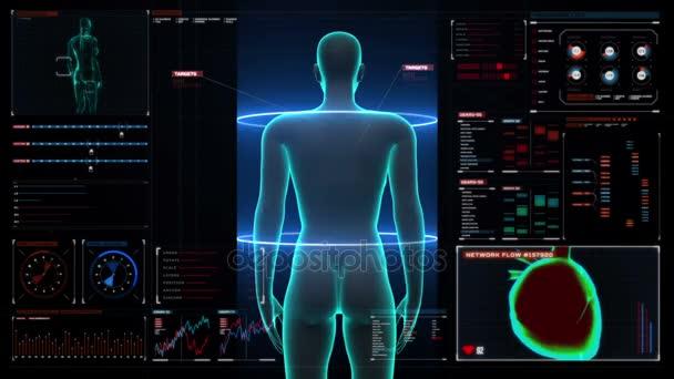 Weiblichen Körper scannen Muskelstruktur in Digitalanzeige Dashboard ...