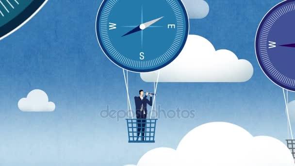 Podnikatel a žena vypadat dalekohledem v kompasu balónů, obchodní vize koncepce.