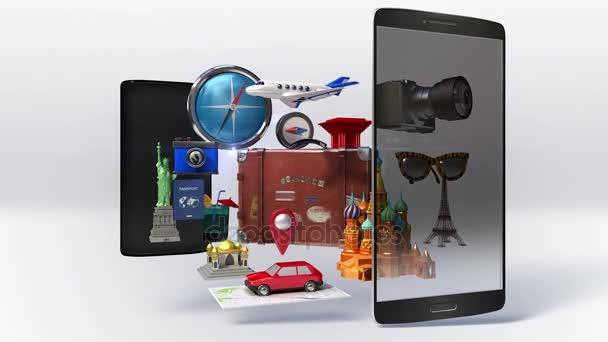 Rozdělený chytrý telefon, mobil, kůže cestování taška, kufr, cestovní pro letní dovolenou, tour.travel ikonu