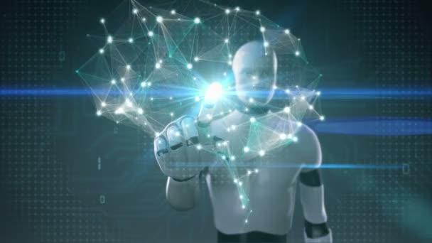 Robot cyborg megható agy összeköt digitális vonalak, mesterséges intelligencia nő