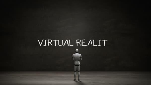 Roboter Cyborg steht schwarze Wand, handschriftliches Konzept der virtuellen Realität mit digitaler Ikone. Künstliche Intelligenz