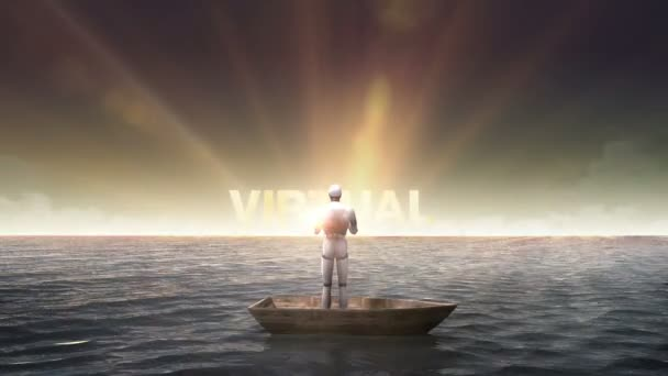 Rising typo VIRTUAL REALITY, front of Robot, cyborg on a ship, in the ocean, sea.