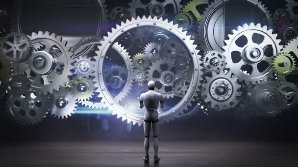 Roboter, Cyborg stehen große Getriebe, Räder, verbindende Zahnrad wheels.artificial Intelligenz, Computertechnik