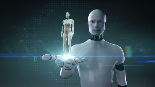 Roboter, Cyborg Palm, Zoomen vorne Frauenkörper und Scan Herz öffnen. Menschliches Herz-Kreislauf-System. Röntgen-Blaulicht.