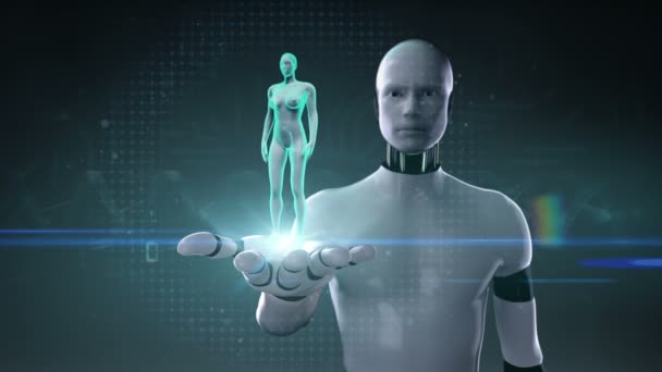 Robot, cyborg open palm, Zooming female Human body scanning internal ...