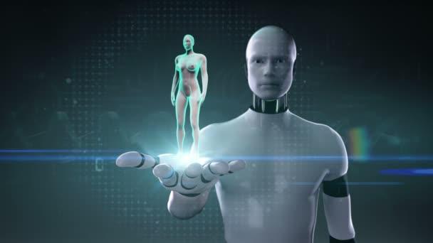 Roboter, Cyborg öffnen, Palm, vordere Frauenkörper Zoomen und Scannen menschlichen Skelett-Struktur, Knochensystem, blaue Röntgenlicht.