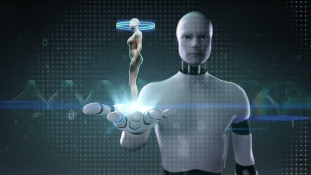 Roboter, Cyborg öffnen Palm, rotierende weibliche menschliche ...