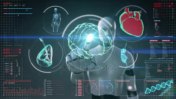 Robot, cyborg touching digital screen, Scanning brain, heart, lungs, internal organs in digital display dashboard. X-ray view.
