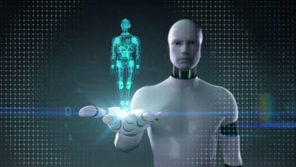 Robot cyborg nyitott tenyér, forgó félig átláthatóság 3d robot test. Mesterséges intelligence.robot technológia.
