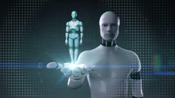 Robota cyborg otevřené dlaně, rotační transparentnosti 3d robot tělo. Umělé intelligence.robot technologie.