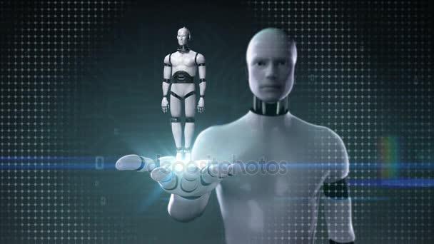 Robot cyborg nyitott tenyér, forgatható, 3d robot test. Mesterséges intelligence.robot technológia.