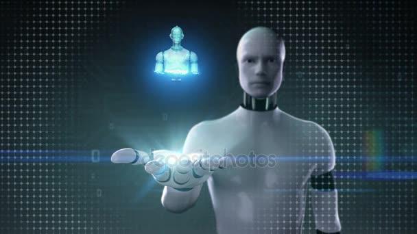 Robot cyborg nyitott tenyér, szkennelés forgó 3d robot test digitális interfész. Mesterséges intelligence.robot technológia.