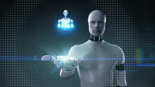 Robota cyborg otevřené dlaně, skenování lidské kosterní struktury uvnitř robota. bio technologie. Umělé intelligence.robot technologie.
