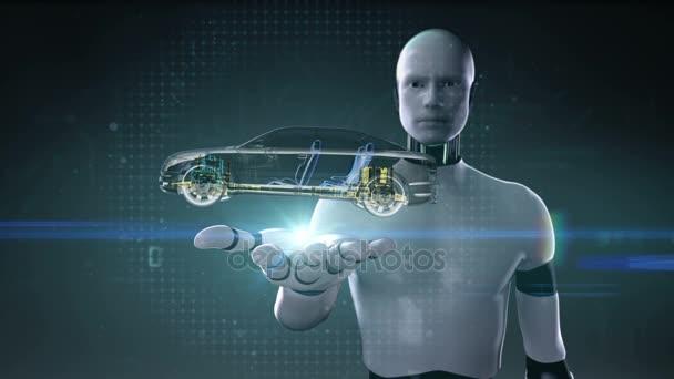 Kyber robot otevřené dlaně, automobilové technologie. Hnací hřídel systém, motor, interiér sedadla. RTG boční pohled.