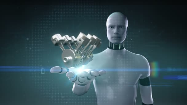 Kyber robot otevřené dlaně, automobilové technologie. Motor pístový boční pohled.