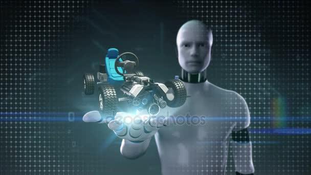 Robot cyborg nyitott tenyér, a hibrid autó, elektronikus, hidrogén, lítium-ion akkumulátor echo autó. eco-barátságos jövő autó.