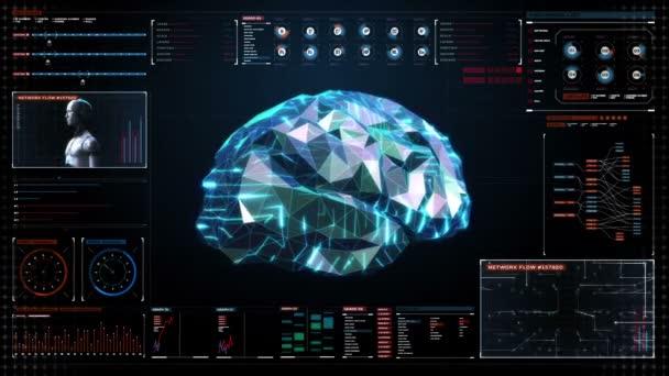Mnohoúhelníkových mozku, připojte digitální linky v digitální displej rozhraní, růst budoucí umělé inteligence