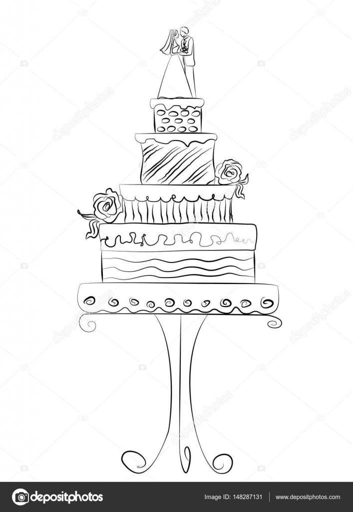 新郎新婦のための結婚式ケーキのベクトル イラスト ストックベクター