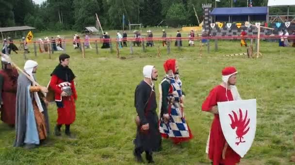 RITTER WEG, MOROZOVO, JUNE 2016: Costumed procession of artists people in the costumes of medieval Europe. Parade of knights