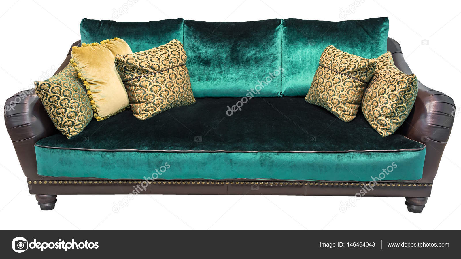 Green Sofa With Pillow. Soft Emerald Couch. Classic Divan On Isolated  Background. Velvet