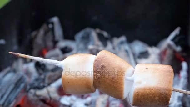 94495a2af5d Marshmallow για σουβλάκια είναι τηγανητό στην πυρά. Ψημένα marshmallows  Ανοίξτε φλόγα στη σούβλα– πλάνα αρχείου