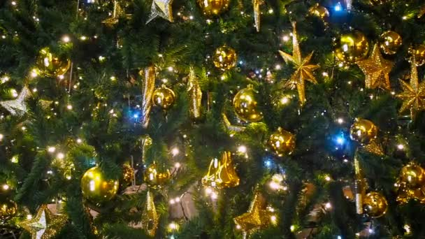 close up a christmas tree lights glittering at night with out of focus background new