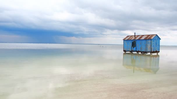 Old Blue House Abandoned in the Middle of the Salt Lake During an  Approaching Storm  Salar Saline Salt Salty Lake Dead Sea Baskunchak