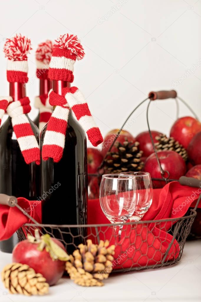 merry christmas and happy new year bottles of wine in a knitted stock photo