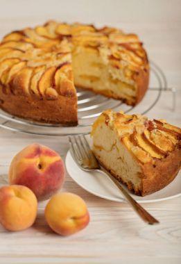 Homemade delicious aromatic peach pie.