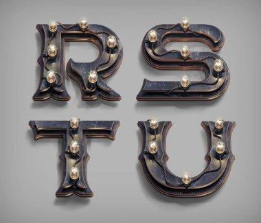 vintage steampunk alphabet