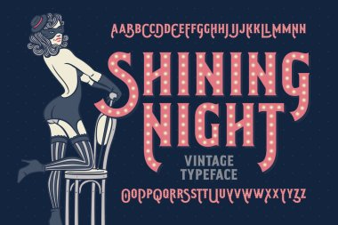 Vintage font with female dancer
