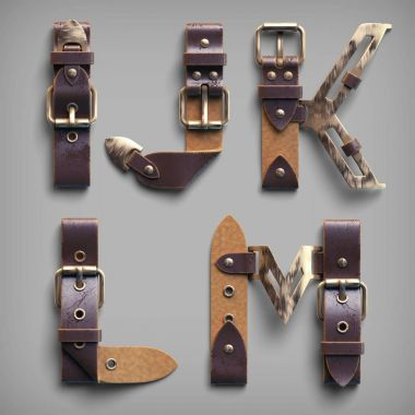 alphabet made of old leather belts