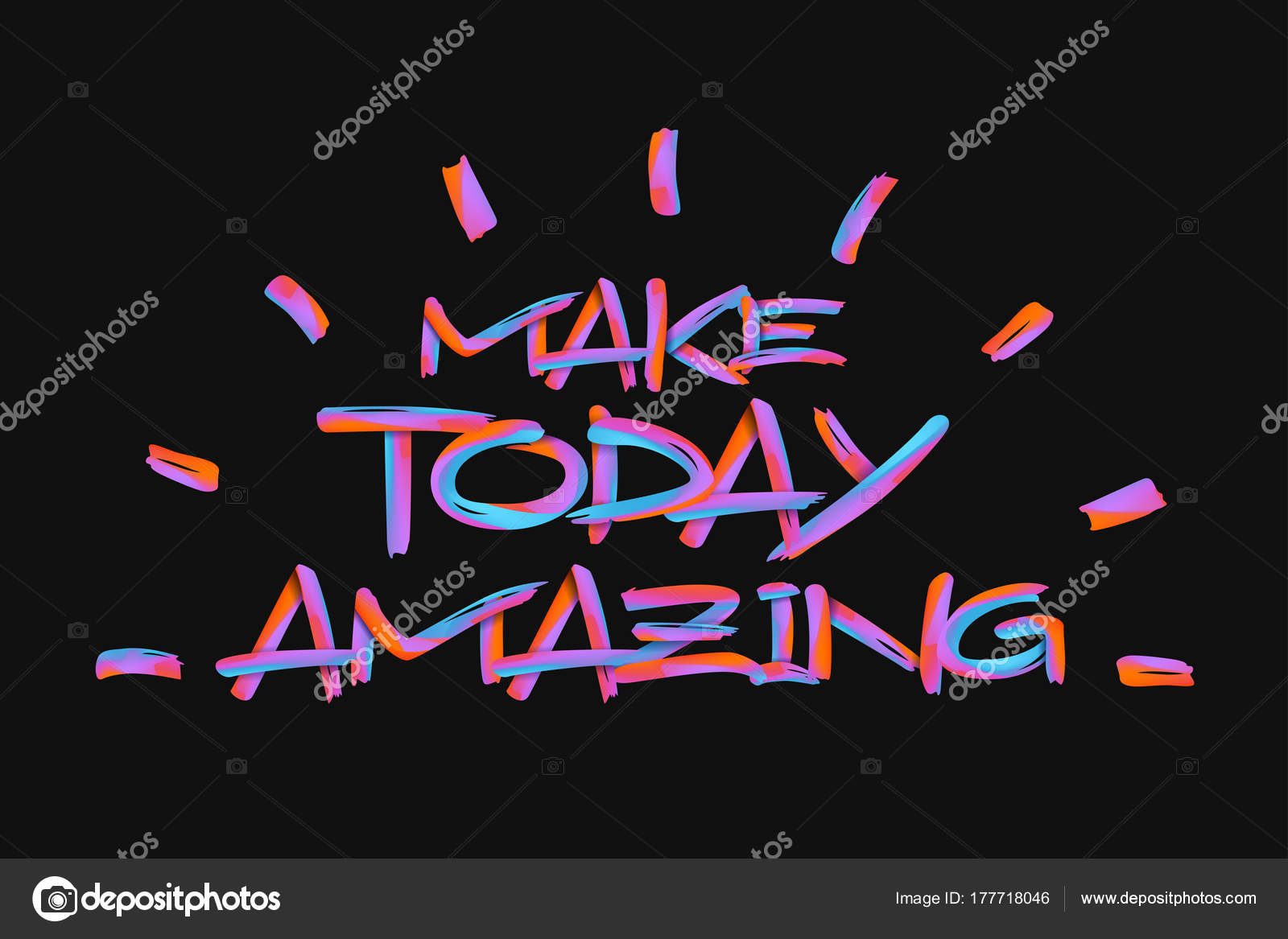 Inspirational Handwriting Quote Neon Font Text Make Today