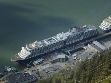 Aerial view of cruise ships docked at the port of Juneau
