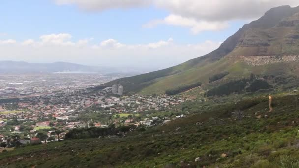 Panoramic high angle view of Cape Town and the mountains surrounding it