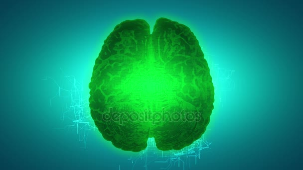 Glowing green brain wired on neural surface or electronic conductors. Artificial intelligence (AI) and High Tech Concept.