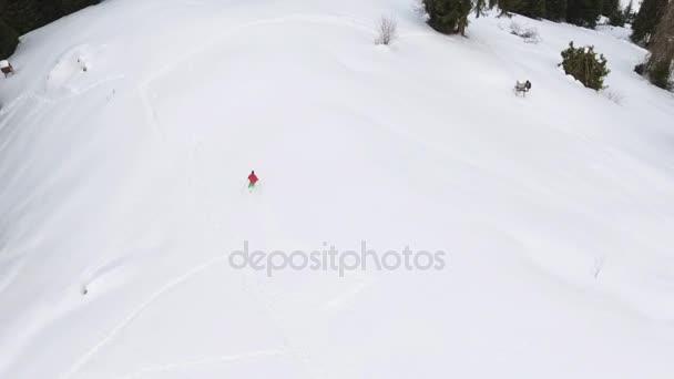 8a9507c383c Esquiador de material de archivo de vista aérea por polvo en travesía de  montaña del montar a caballo– metraje de stock