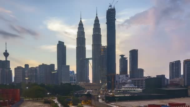 4k time lapse of sunset at Kuala Lumpur city skyline. Zoom out