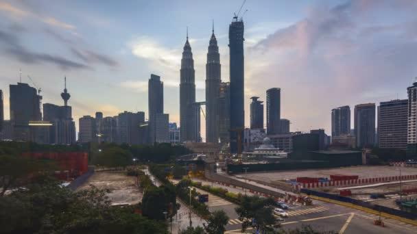 4k time lapse of sunset at Kuala Lumpur city skyline.