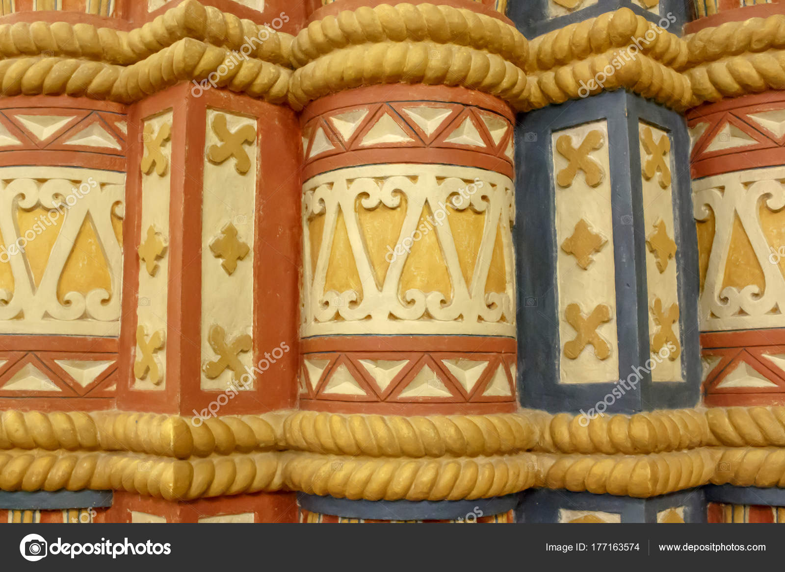 Carved Stone Fragment Door Group Painted Ornament Russian Style State u2014 Stock Photo & Carved Stone Fragment Door Group Painted Ornament Russian Style ...