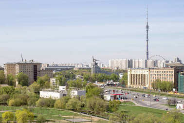 Russia, Moscow, May 05, 2017:  View of the Ostankino tower and the sculpture