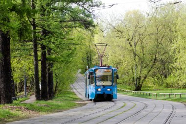 Russia, Moscow, May 06 2018: Tram, popular and convenient form of public transport on the street