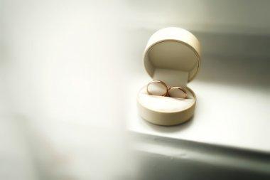 Beautiful luxury wedding rings in the box