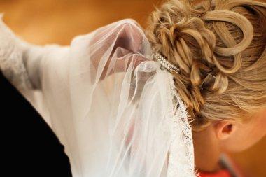 Bridal veil is put on a lady's hair