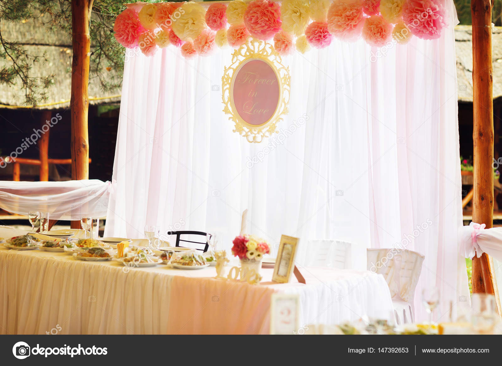 Wedding Table Stands On The Open Air In A Restaurant Stock Photo - Restaurant table stands